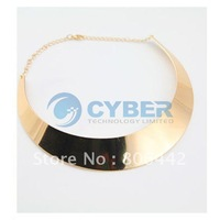 Free Shipping Gold Chic Curved Mirrored Choker Metal Polished Bib Slim Punk Style Collar Necklace