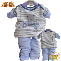 2012 children's clothing cool bear cartoon graphic patterns baby boy set twinset long-sleeve + pants suit