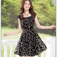 elegant slim chiffon  plus size short-sleeve bow one-piece dress chiffon dress