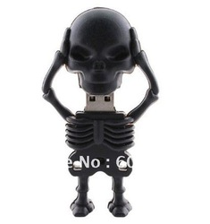 Real 2GB/4GB/8GB/16GB/32GB USB FLsh Drives Memory Stick Pen Drive Cartoon Skeleton Shape Drop Shipping+ free shipping(China (Mainland))