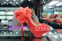RED  high-heeled wedding shoes waterproof feather flower fashion high heel shoes 34-38
