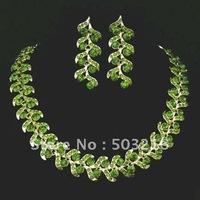 High Quality Austrian Crystal Necklace Set New Design Green Crystal Wedding Bride Bridesmaid Jewelry