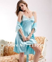 NWT spaghetti strap solid slip blue silk women's 2 piece pc ribbon belt wrap chemise pajamas night sleep gown robes sets 2091