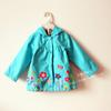 Free Shipping 2013 autumn baby child female child top flower with a hood trench lovely outerwear(China (Mainland))