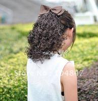 4шт женщины девушки светло каштановые вьющиеся волосы 50% реальных человеческих волос хвост расширение коготь клип в po111