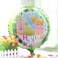 "New! 18"" Round Shape Tinker Bell Design Foil Balloons/ Party Decoration/Holiday Cartoon Balloon/ Kids Gift, 20pcs/lot"