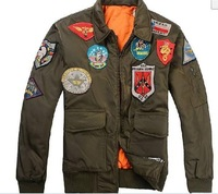 Free shipping 2012 winter men outdoor leisure the American air force and colorful mark green cotton jacket lapel flight jacket