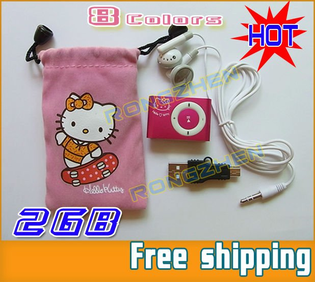 * FACTORY DIRECT* 10PCS/ LOT Best Gift 2GB 5 in 1 Best-selling Hello Kitty Clip MP3 Player + GIFT mp3 8 Colors Free Shipping(China (Mainland))