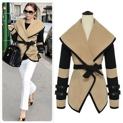 2013 british style autumn victoria personalized large lapel cape wool coat women outerwear fashion jacket(China (Mainland))
