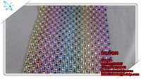 free shipping,24lines colorful Plastic Crystal Rhinestone MeshTrimming,10yard/bag
