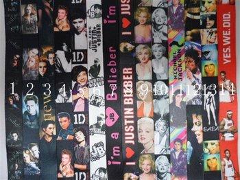 Free Shipping Hot sale 1D/Justin bieber/ Marilyn Monroe/Edward Lady GaGa/MJ  keychain lanyard lots Mix order