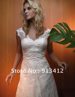 New Arrival, Free shipping Organza with Lace and Embriodery  Bridal Court Wedding Dress Custom Made Size & Color