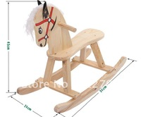 Lovely natural wood rocking horse/hobbyhorse/wooden toys/kid rider