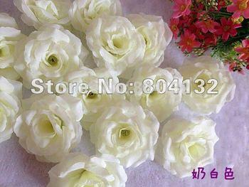 WHITE 100pcs 8cm Wedding Christmas Party Decorative Artificial Simulation Silk Peony Camellia Rose Flower