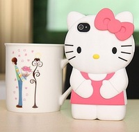 Freeshipping 3D Hello Kitty Silicon Case for iphone4g 4s, Cute Cartoon Japan Ustyle Newest Coming