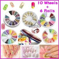 10 Wheel Mixed Nail Art Tips Rhinestone Slice Decoration + 6 Rolls Striping Tape, no. HB-NailArt01-106set*2
