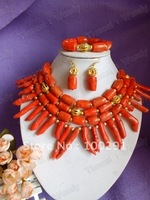 Fashion african wedding bridal necklace bracelet and earrings coral jewelry set