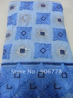 Wedding lace  fabric swiss voile lace French lace for wedding and party sky blue color
