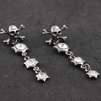 English pewter steampunk stud earring skull