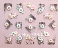 100PCS French Lace 3D Nail Sticker For DIY Nail Care 24 Different Designs Free Shipping #2020