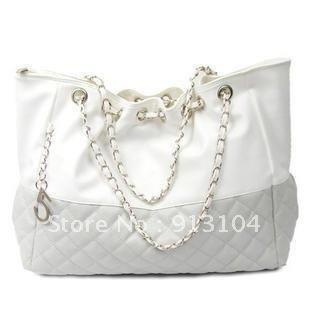 Criss-Cross Shoulder Bag  Chains hobo purse Pu leather shopping womens white and gray (blue , black) Tote Handbag 414