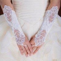 Paillette Bridal Dance Ballet Wedding Evening Gloves ST03 ivory      Free shipping