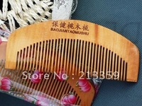 Wholesales Free shipping/25pcs Peach wood comb wide-tooth combs, comfortable hairbrush home helper hot!