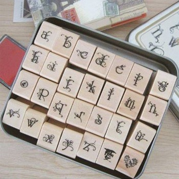 Free shipping high quaity butterfly flower iron box alphabet stamp set (28 pcs) lower-case and upper-case