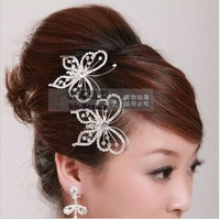 Wholesale 2Pcs/Lot! Free Shipping! Silver Red Crystal Butterfly Comb Bridal hair pin Party flower wedding Hair accessory  TH053