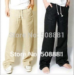 2014 Fashion new pants for men linen casual wide legs trousers for man black,beige,army green,blue,grey