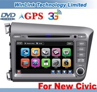 2012 New 8 Inch In Dash Car DVD Player For Honda Civic 2012 With GPS Stereo Audio Bluetooth 6 CDC Support 3G Internet