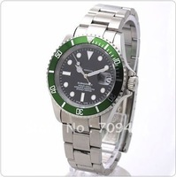 Eternal Time Mens Automatic Watch SS Green Bez Black Dial Wristwatch