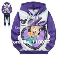 free shipping baby tee retail kids sweatershirt cotton t-shirt pullover children hoodies purple cartoon mickey clothes wholesale