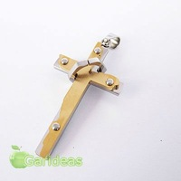 Free shipping +Wholesale  Stainless Steel Multi Gold&Silver Ring Cross Chain Pendant Necklace New Cool Gift Item ID:3657