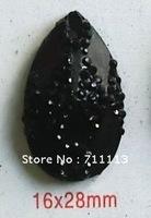 16*28MM black Resin stones Rhinestones popular diamond 2hole stones water-drop resin accessories 150pcs/lot Free shipping