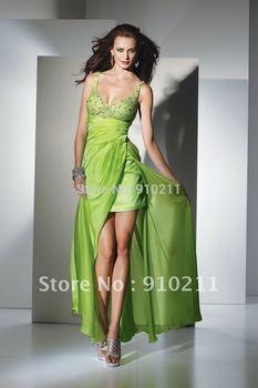 2013 Hot Sale Free Shipping Silky gorgeous gown bias-cut chiffon apple spaghetti strap diamond prom dresses