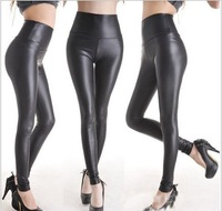 FREE SHIP+Wholesale Leather LOOK Shiny Metallic High Waist Black Stretch Leather Leggings/Tights/Pants free size
