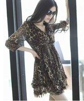 Plus size ladie leopard chiffon dress black beige and leopard free shipping