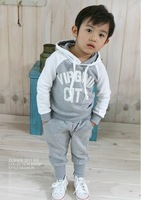 Free shipping  boys' leisure-letter casual autumn siut,hooded,long-sleeved coat  trousers