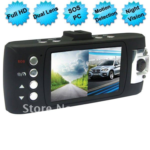 1080P Double Lens Car Camera 2.7 Inch Car DVR Motion Dectection With SOS LM-CV811(China (Mainland))