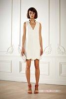 2013 Resort Wear Pure White Dress Fashion Ladies Brand A-line Tank Sleeveless Women's Knee-length White Casual Party Dresses
