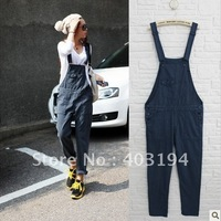 2012 ladies summer women personality loose denim bib pants overalls jumpsuit trousers female