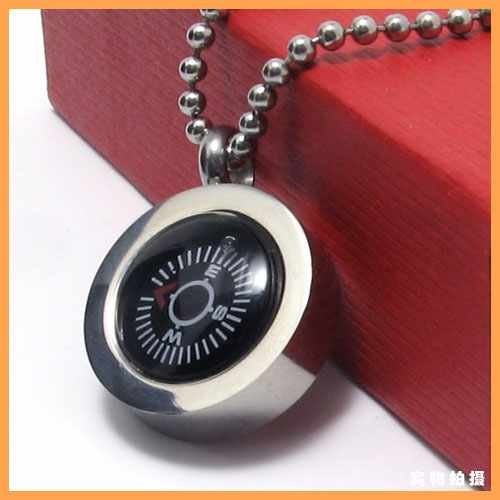 Free Shipping Fashion Jewelry Small Black Compass Pendant 316L Stainless Steel Necklace Men Necklaces 10585