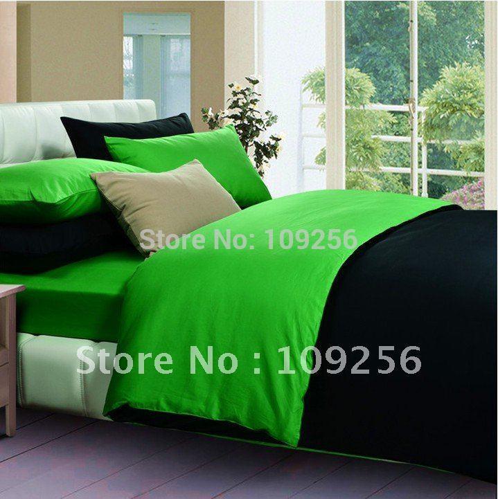 Sale 4pcs 100 cotton bed set bedding sets duvet cover flat - Dark green comforter sets ...