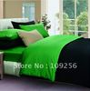 Free ship 100% Sateen cotton green+black color luxury bedding set 4pcs cover cotton plain solid color bedding set king size