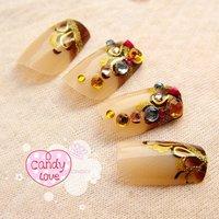 FREE SHIPPING ,new arrival,  hot!! amber CZ diamond   3D design vintage style  /USA brand /  artificial FALSE NAIL / 24pcs/lot