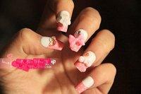FREE SHIPPING ,new arrival,  hot!! cute/sweet KT PINK cats  3D design /USA brand /  artificial FALSE NAIL / 24pcs/lot
