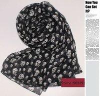 100% Pure Silk Scarfs Skeleton Printed Chiffon Long Scarves 195cmX65cm