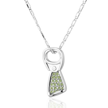 18K253N 18K White Gold Plated Green Crystal Cute Pendant Necklace Health Jewelry