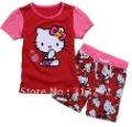YL-078, Hello Kitty, 2012 wholesale, 100% Cotton short sleeve T shirt + Shorts Clothing sets, Children pajamas for 2-7 year.